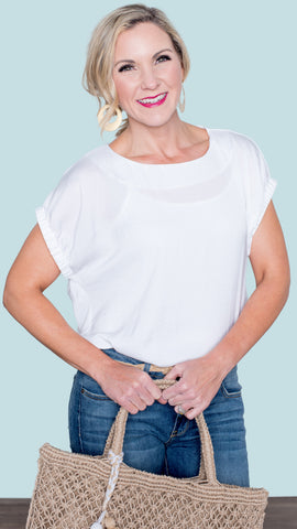 The Mary Ruched Sleeve Blouse- Off White