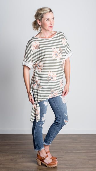 Sunset Drive Side Tie Striped Tee