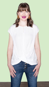 Gloria Twist Front Top - Off White