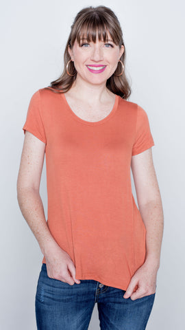 Basic Babe Scoop Neck Tee in Apricot