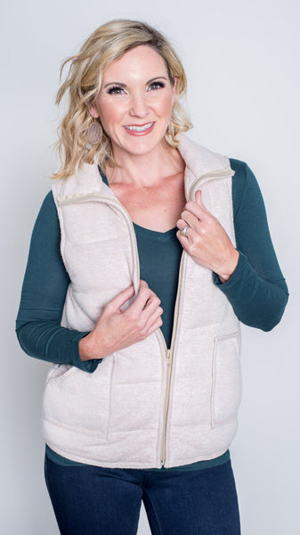 Dani Brushed Zip Front Vest - Oatmeal