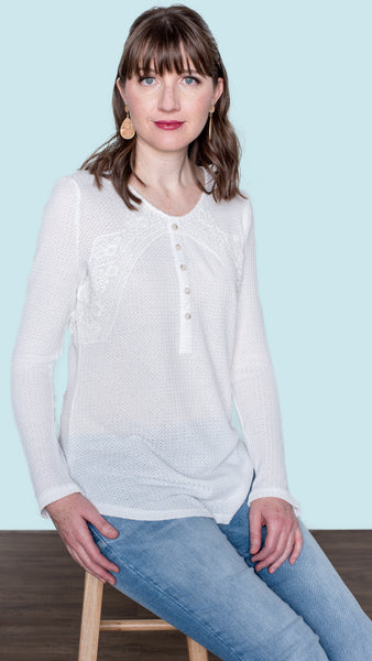 Today is the Day Lace Ribbed Henley Top- White