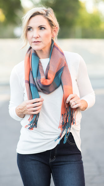 Luxury Woven Plaid Oblong Scarf