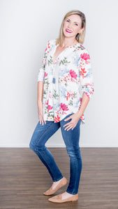 First Blooms V-Neck Jersey Top- Ivory