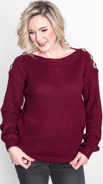 Cranberry Red Shoulder Button Pullover Sweater