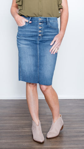 Best Day Ever Button Up Denim Skirt