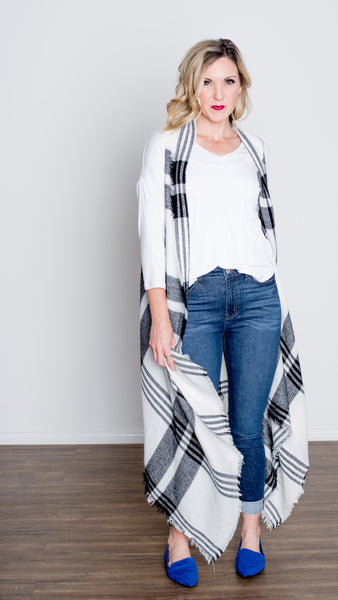 Black & White Wrap Plaid Sweater Vest