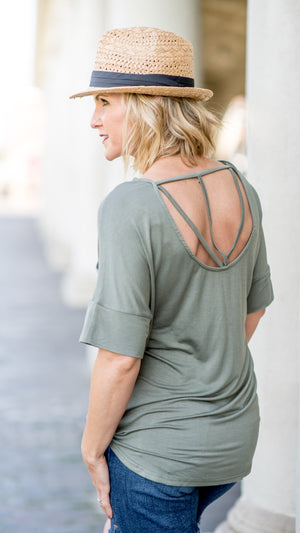 The Lakeside Open Back Tee in Olive