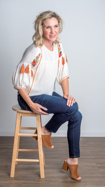 Apricot 3/4  Sleeve Top with Embroidery - Ivory