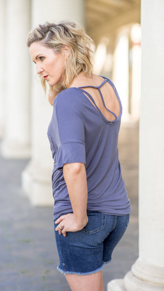 The Lakeside Open Back Tee in Denim Blue
