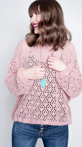 Chenille Pullover in Rose Pink