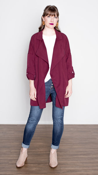 Trench Coat With Oversized Lappel  and Roll Tab Sleeve in Wine