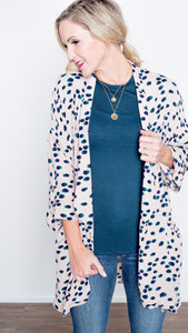 Watercolor Print Open Front Cardigan- Ivory/Jade