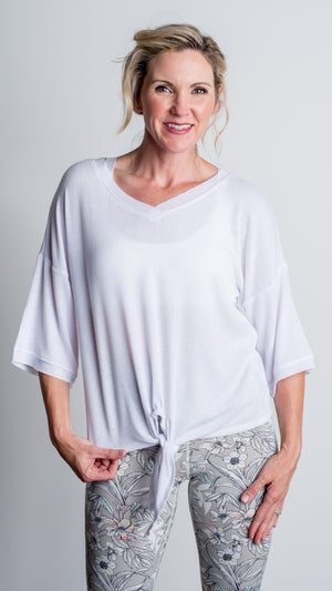 LBC Active Rib Knit Dolman Top- White