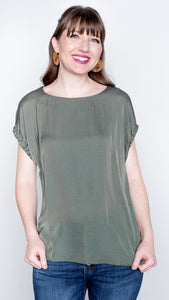The Mary Ruched Sleeve Blouse- Olive