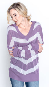 Big Stripes V-Neck Sweater Top in Violet
