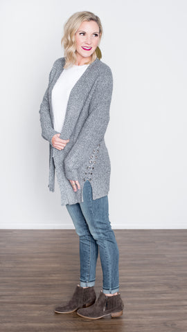 The Laura Lace Up Cardigan in Gray