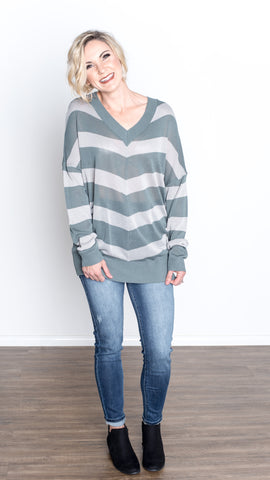 Big Stripes V-Neck Sweater Top in Sage