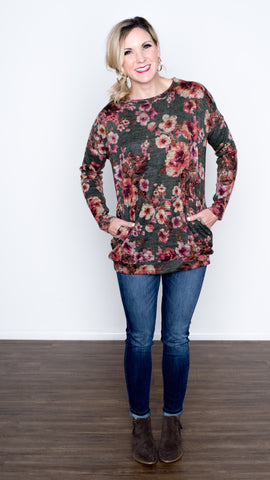 Cozy Floral Pullover Pocket Top - Olive