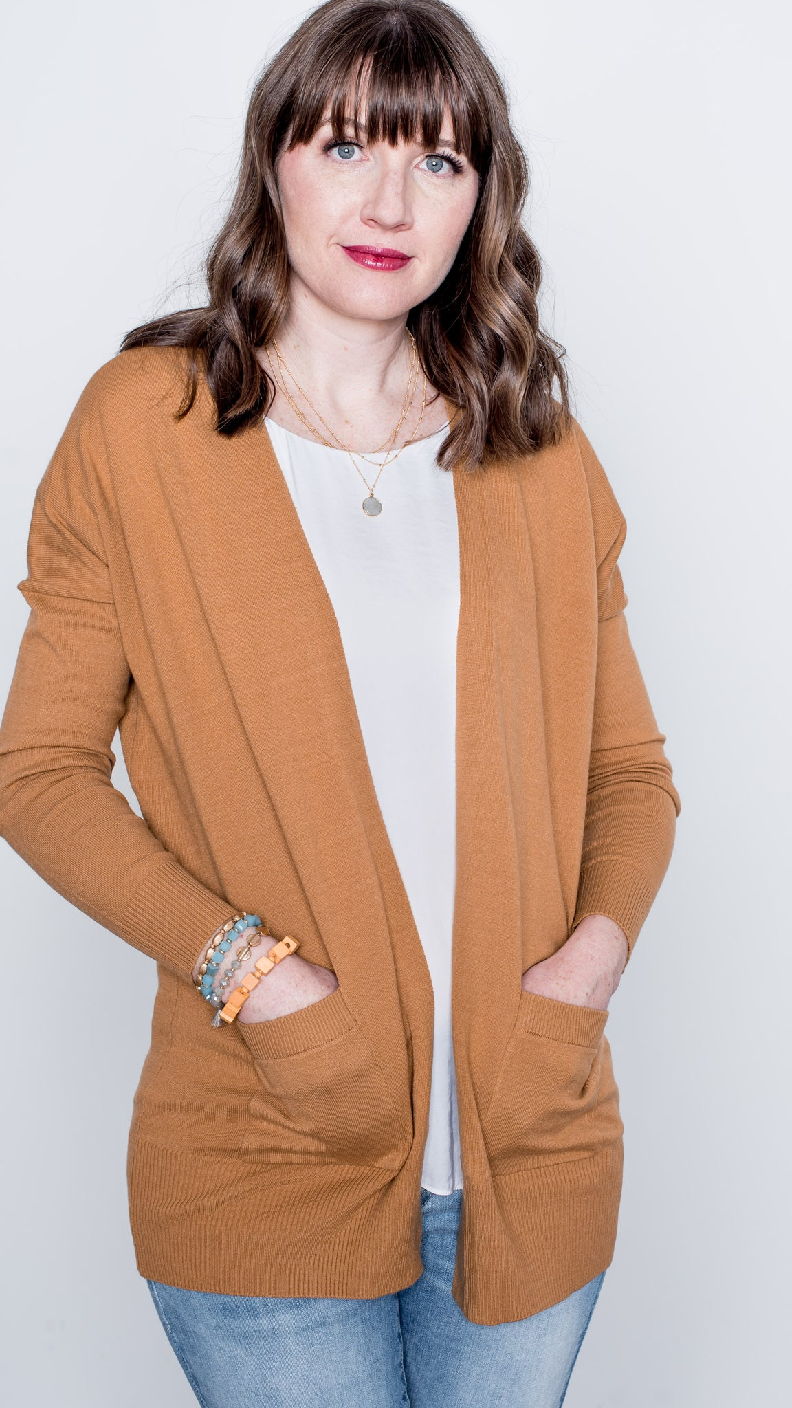 Jessie Long Sleeve Open Front Cardigan with Pockets - Caramel – Layered By  Cake 8caba0fbb