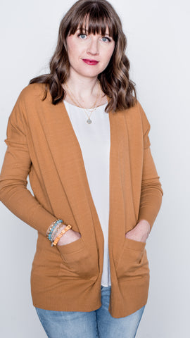 Jessie Long Sleeve Open Front Cardigan with Pockets - Caramel