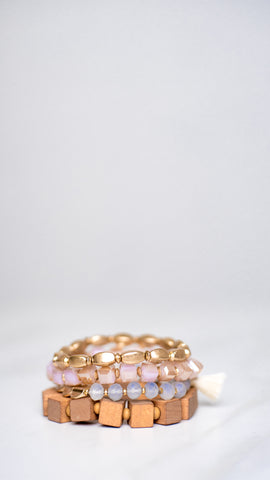 Wood and Gold Bracelets Set of 4 - Pink