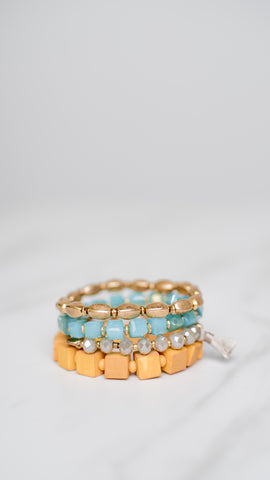 Wood and Gold Bracelet Set of 4 - Aqua