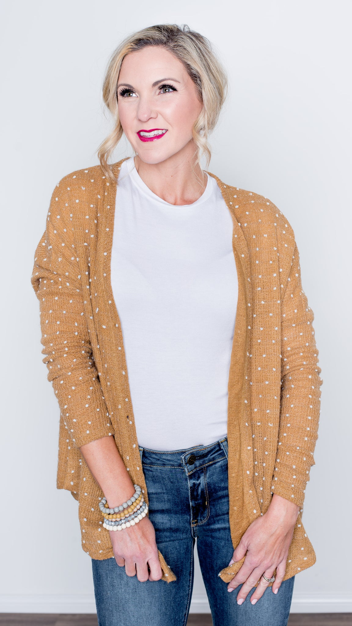 Knit Button Down Cardigan in Camel