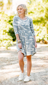 The Riley Ribbed Camo Baby Doll Dress