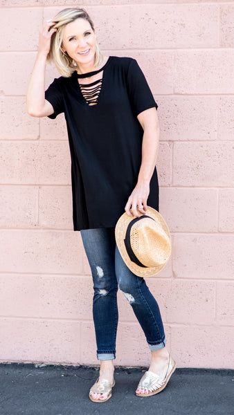 Ash Black Slash Front Tee