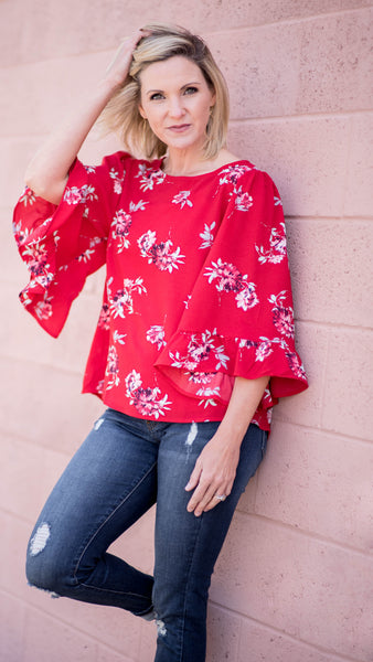 The Celeste Blouse in Red