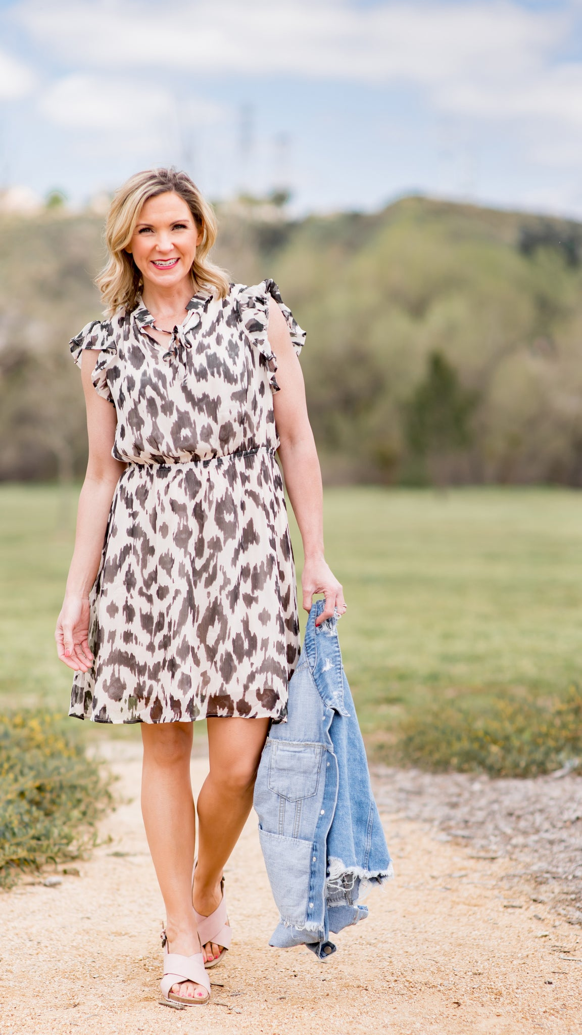 Lavish Leopard Ruffle Sleeve Dress
