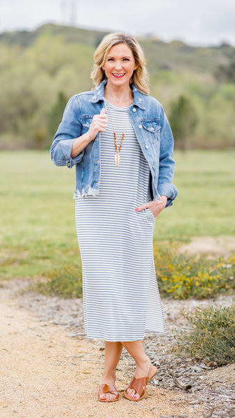 Sage Stripes Side Slit Maxi Dress