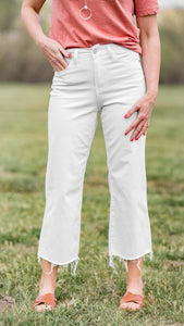 Wynona White High Waist Wide Leg Crop Jean