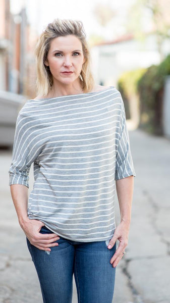 Gray Striped Boatneck Tee