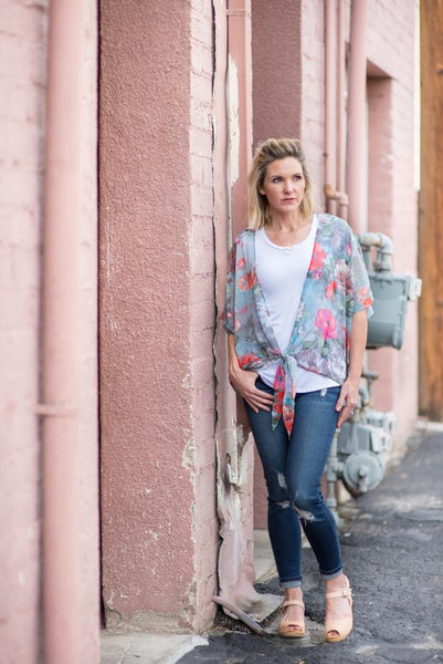The Poppy Fields Kimono in Blue