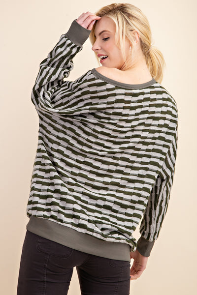 All Signs Lead to Olive Pattern Sweater Top