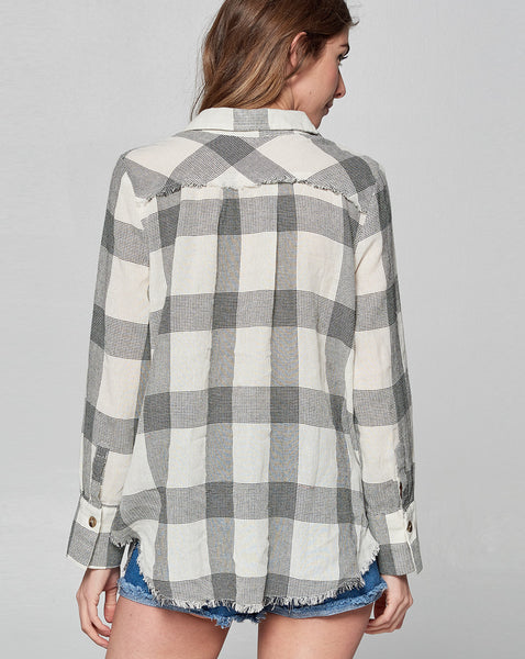 Modern Check Fray Button Down Shirt
