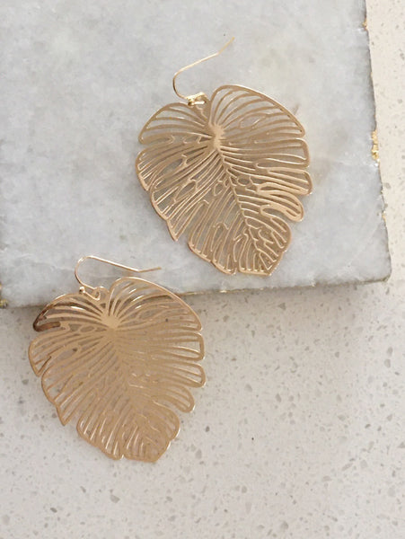 Glimmering Palms Hook Earrings