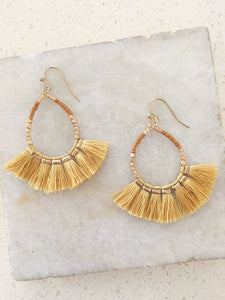 Mustard Teardrop Fan Drop Earrings