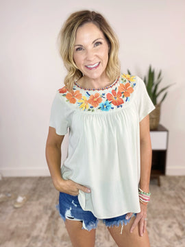 Citrus Circle Embroidered Flutter Top