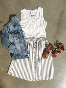 White Black Striped Button Skirt