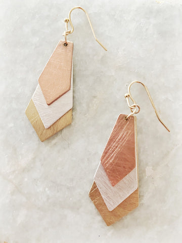 On Point Mixed Metal Drop Earrings