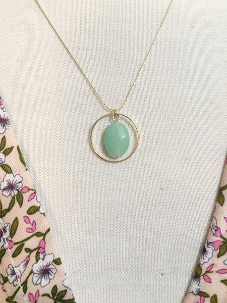 Dainty Green Stone Ring Necklace
