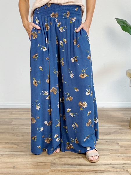 Later Bloom Smocked Palazzo Pant in Denim Blue