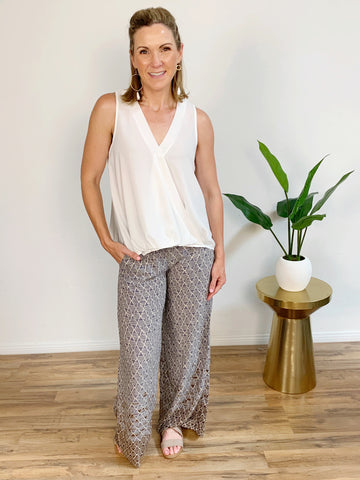 Last Summer Smocked Border Print Palazzo Pants