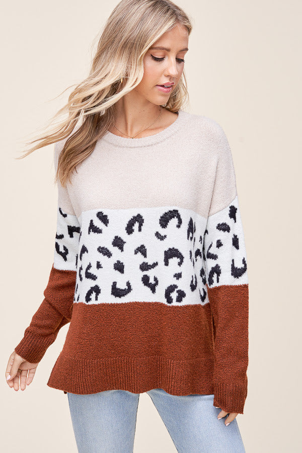Meet Me in the Middle Leopard Pullover