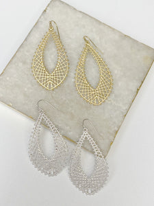 Matte Oval Teardrop Earrings- 2 Colors!