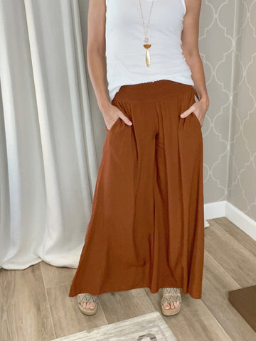 Toffee Covered Smocked Palazzo Pant