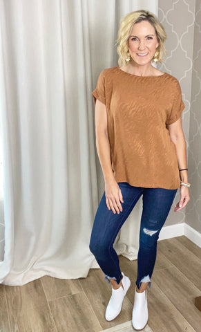 Say Yes! Subtle Print Relaxed Fit Blouse- 2 Colors!